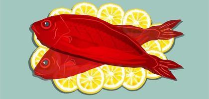 Red snapper fish on lemons vector
