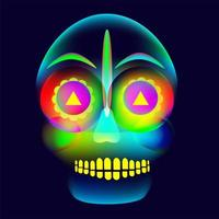 Vibrant, glowing, neon style, colorful halloween skull