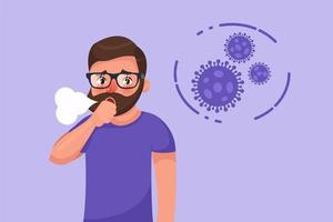 Bearded young man with coronavirus dry cough symptom vector