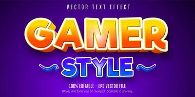 Gamer style editable text effect vector