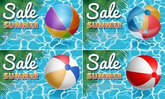Banners Sale Summer Set with Beach Balls  vector