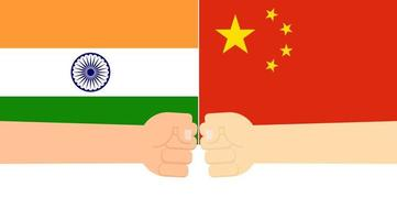 Fist hands on India and China flags vector