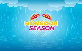 Monsoon Season with Umbrellas and Rain vector