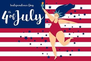 bandera americana del día de la independencia y mujer estilizada como libertad vector