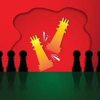 Paper cut style chess game design vector