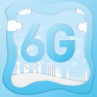 conception de connexion numérique art papier 6g avec la ville vecteur