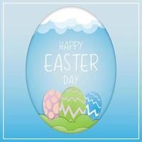 Paper art Easter eggs in egg shape frame