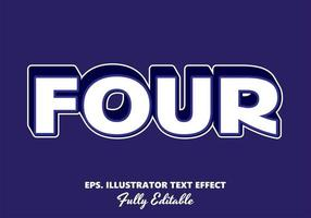 Four Whie and Purple Editable Text Effect vector