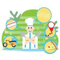 concept d'application de cuisine chef et cloud vecteur
