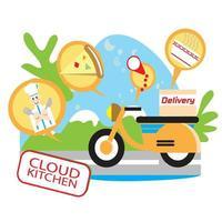 entrega de comida en scooter concepto de cocina en la nube vector
