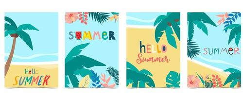 Summer card collection with palm trees and beach vector