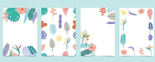 Collection of summer card set with tropical leaves vector