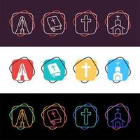 Set of simple colorful religious icons