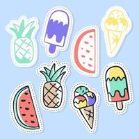 Set of ice cream and fruit stickers