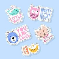 Set of cute animals stickers