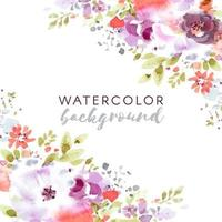 Watercolor Frame with Flowers in Corners vector