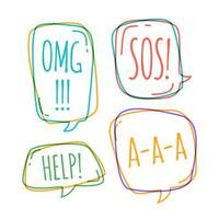 Doodle speech bubbles with omg, help, sos, a-a-a vector