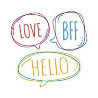 Doodle burbujas de discurso con amor, bff, hola dentro vector