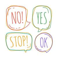 Doodle speech bubbles with no, stop, ok, yes vector