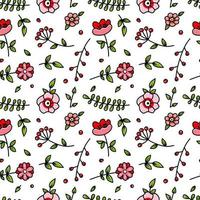 Cute Red and Pink Floral Seamless Pattern