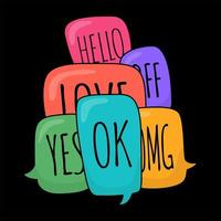 Glossy colorful doodle speech bubbles with different phrases vector