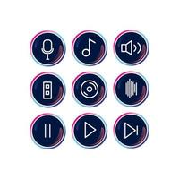 conjunto de ícones de música moderna redondo brilhante