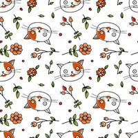 Cute Cat and Flowers Seamless Pattern vector