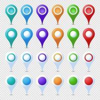 Ensemble de broches de localisation de cercle pointu isolé coloré vecteur