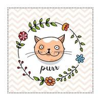 Cute Cat Portrait In A Floral Frame vector