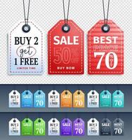 Colorful Hanging Sale Tags Set vector