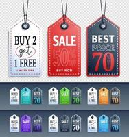 Long Hanging Sale Tags Collection vector