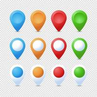 Colorful isolated drop shaped map pointer pin set vector