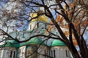 Autumn landscape with Fedorovskiy cathedral in Pushkin.