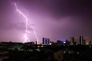 Strike of lightning into building in city. photo