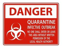 sinal de foco infeccioso quarentena perigo vermelho vetor