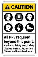 PPE Required Beyond This Point Vertical Sign  vector