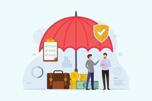 Concepto de seguro de negocios con hombres bajo protección paraguas vector