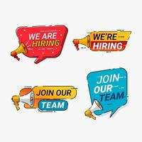We're hiring megaphone and speech bubble badges