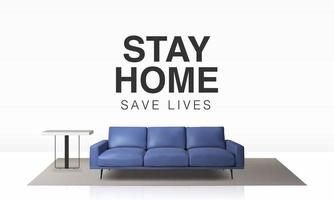 Living room interior with stay home save lives text