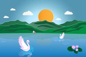 Swan in the river at sunrise vector