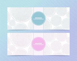 conjunto de banners de círculos listrados pastel