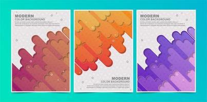 líneas fluidas coloridas abstractas cubren conjunto de patrones