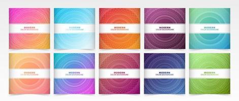 cubiertas geométricas coloridas de círculos concéntricos