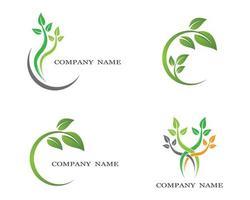 conjunto de logotipo de planta ecologia