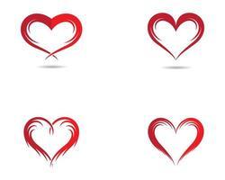 conjunto de logotipo de contorno de corazón vector