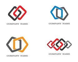 conjunto de logotipo corporativo de forma vinculada vector