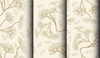 set van beige bloempatronen