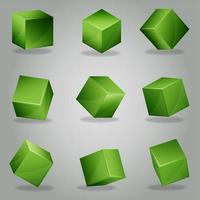 Set of green 3D cubes