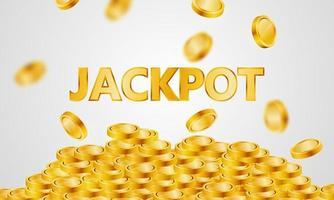 cartaz de cassino de jackpot de luxo com moedas de ouro caindo