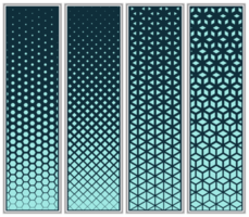 Halftone Cube, Triangle, Diamond and Hexagon Pattern Set
